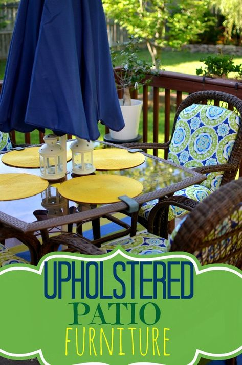 How to Re-Upholster Patio Furniture without sewing - cover wood panel cut to size of cushion with fabric for the bottom of the cushion and then cover cushion with fabric and staple gun to fabric covered wood panel (fabric is Maco Indoor/Outdoor Halina Wasabi from fabric.com)