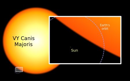 """Hypergiant  Size comparison between the Sun and VY Canis Majoris, a hypergiant which is one of the largest known stars. Mona Evans""""How Big Are the Biggest Stars"""" http://www.bellaonline.com/articles/art300366.asp"""