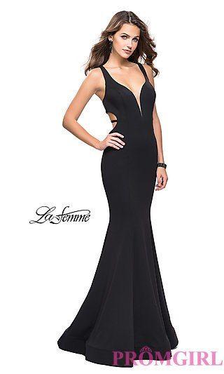 c35ed1d697b La Femme Open-Back Long V-Neck Prom Dress
