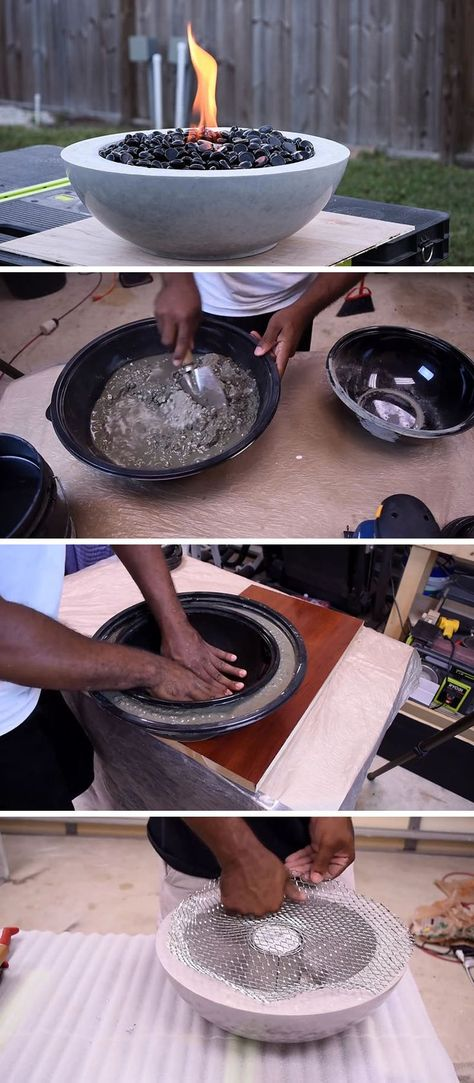 Here's a modern DIY concrete fire bowl that will help to get your