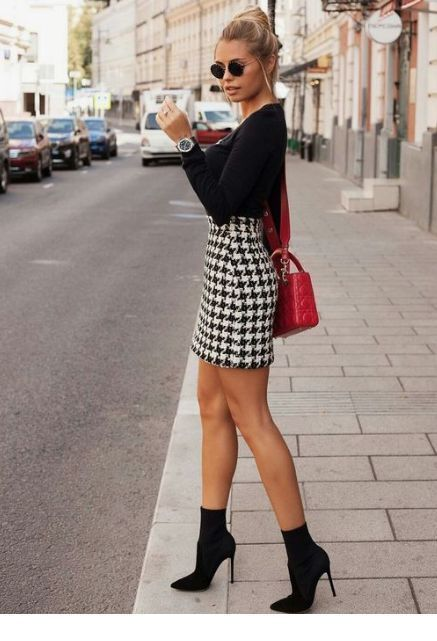 Plaid skirt and red bag #Women #Fashion