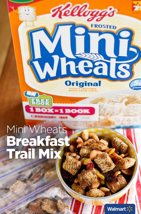 Mini Wheats Breakfast Trail Mix | Walmart – This trail mix is a wonderful snack any time, for kids or adults. Start with Kellogg's Frosted Mini Wheats tossed in a buttery brown sugar-cinnamon mixture and then bake until toasty. Add colorful golden raisins and dried cranberries, along with flavorful cashews for some extra protein. It's endlessly customizable!