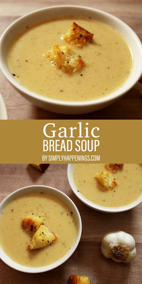 Do you love garlic bread? This creamy and delicious soup tastes like garlic bread but in a bowl! Served with homemade croutons, but it is also a perfect pairing to dip grilled cheese into.