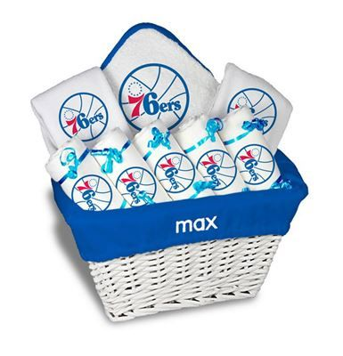 8 best philadelphia 76ers baby gift images on pinterest our personalized philadelphia large gift basket is a perfect baby gift with 2 burp cloths and a bib personalized with the team logo negle Image collections