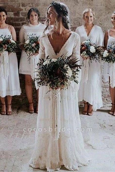 May 2020 - Empire Waist Long Sleeve Lace Tulle Wedding Dress-Cheap Boho Wedding Dress Flapper Wedding Dresses, Layered Wedding Dresses, Different Wedding Dresses, White Lace Wedding Dress, Bohemian Wedding Dresses, Wedding Dress Sleeves, Tulle Wedding, Best Wedding Dresses, Cheap Wedding Dress
