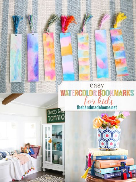 easy diy bookmarks that you and the kids can make in a snap!  a few supplies... a table... family and some FUN!!!  Make them by the dozens!  #Watercolorbookmarks #DIYBookmarks #WatercolorDIYBookmarks #Bookmarks #BookmarkDIY #Watercolor