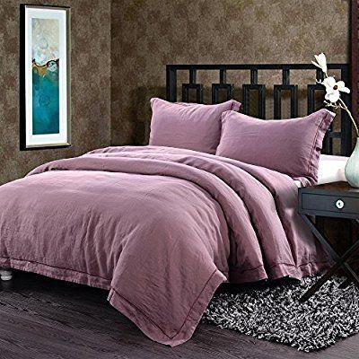 Amazon Com Simple Opulence 100 Linen Duvet Cover Set Grey Solid Wash Purple Twin Home Kitchen Duvet Cover Sets Bedding Sets Luxury Bed Sheets