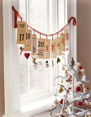 simplified advent calendar.  Love the feather tree too.