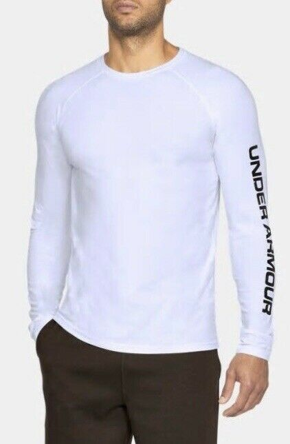bde886d5 UNDER ARMOUR Men's Unstoppable Logo Long Sleeve Shirt White Fitted ...
