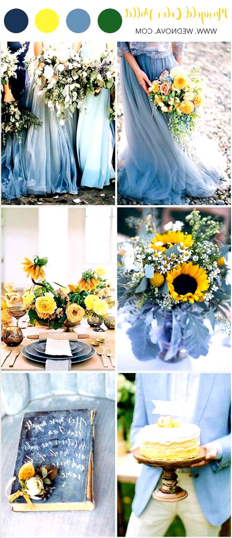 Yellow Wedding Summer Wedding Color Palette Dusty Blue Wedding - Decoration Home