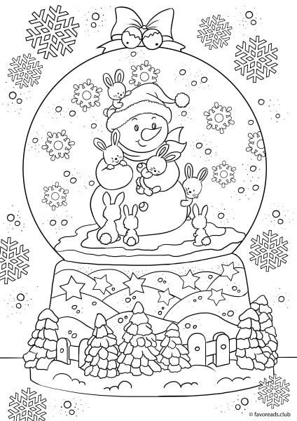 Snowman In A Snow Globe With Images Christmas Coloring Sheets