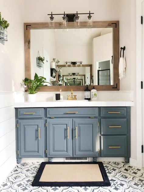 20 Most Favorite Bathroom Mirror Ideas to Update Your Style DIY bathroom renovations to turn a builder-grade bathroom into a custom space renovations Diy Bathroom Reno, Bathroom Vanity Cabinets, Bathroom Renos, Bathroom Organization, Bathroom Makeovers, Remodel Bathroom, Bathroom Remodeling, Bathroom Storage, Remodeling Ideas