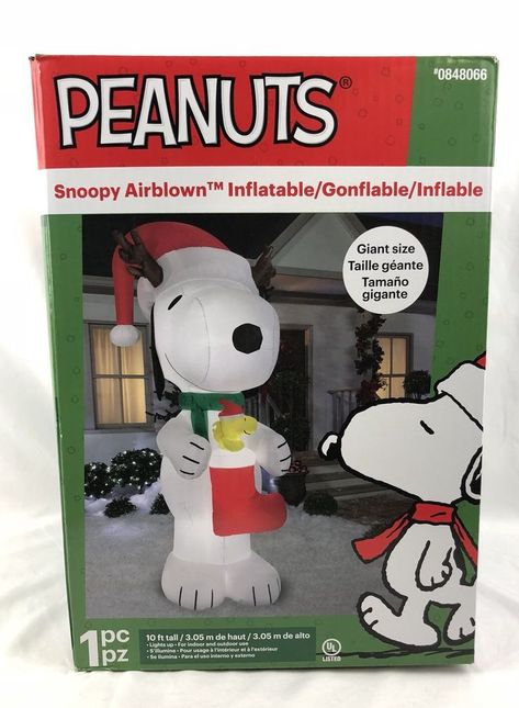 Snoopy And Woodstock Christmas Inflatable.Gemmy 10 Ft X 4 52 Ft Lighted Snoopy Woodstock Christmas