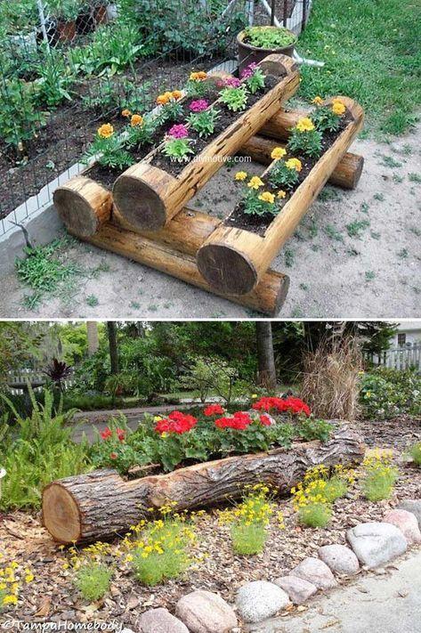 19 Coole Diy Ideen Um Rundholz Und Baustamme In Eurem Garten Kreativ Zu Verwenden Garden Decorations Gardendesi Natural Garden Bamboo Garden Garden Projects