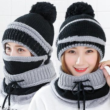 Hot Pink Mix Chunky Acrylic Bobble HAT Ski NEW