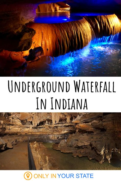 There's A Rare Underground Waterfall In Indiana's Squire Boone Caverns That You'll Have To See To Believe This spectacular cavern in Indiana is home to an incredible underground waterfall. It's the largest of its kind in America! Vacation Places, Vacation Spots, Places To Travel, Vacation Ideas, Vacation Pictures, Weekend Trips, Day Trips, Oh The Places You'll Go, Places To Visit