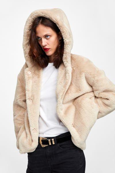 Zara Faux Fur Coat With Hood, Zara Faux Fur Coat With Hood