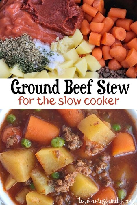 A few minutes prep in the morning is all you need for this ground beef stew that is made in the slow cooker. A hearty , flavorful stew loaded with vegetables and ground beef. Perfect comfort food dinner for any night of the week. recipes with ground beef Ground Beef Stews, Ground Beef Recipes, Ground Beef Slow Cooker, Crockpot With Ground Beef, Chicken Stew Slow Cooker, Dinner With Ground Beef, Crock Pot Soup, Crockpot Dishes, Hamburger Crockpot Recipes