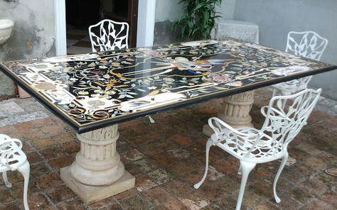 Tavoli Antichi Da Cucina Con Marmo.Tavolo Intarsiato Le Pietre Srl Tavolo Intarsio E Tavoli Antichi