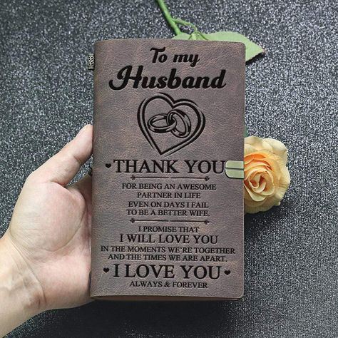 Did you know that surprise gifts like this goes a LONG WAY in a Man's book? Get your Husband a special and beautiful journal with an embossed message that expresses how loved and appreciated he is. Imagine his reaction reading this sentimental gift, expect a teary moment and a tight hug from him.HOW-TO-SURPRISE TIPS: Put it somewhere he looks every day, like the closet or in the driver seat and let the magic happen. Setup your phone where it can clearly record a video to capture the moment and h