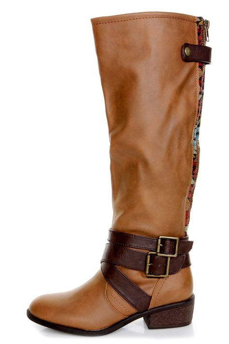 Pink & Pepper Racer Medium Brown Belted Riding Boots