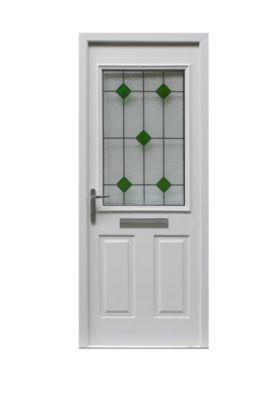 Bu0026Q Arlington Composite Front Door Frame Set White Leaded Glass RH (H)2085  X (W)920mm, 0000003160862 | 1 Short Cross Rd | Pinterest | Composite Front  Doors, ...