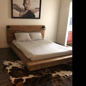 Modern Wood Platform Bed frame low thick headboard-Bernal