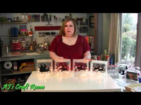 ▶ Lighted Glass Blocks with Vinyl - AJ's Craft Room (Holiday Craft Ideas) - YouTube