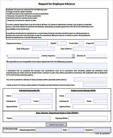 8 Travel Advance Request Form Templates Templates Travel
