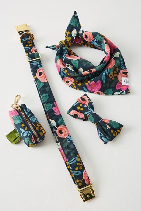 Rifle Paper Co. x The Foggy Dog Rosa Bandana by in Assorted, Stationery at Anthropologie Dog Accesories, Pet Accessories, Diy Dog Collar, Cute Dog Collars, Girl Dog Collars, Dog Cleaning, Dog Clothes Patterns, Dog Bows, Dog Bow Ties