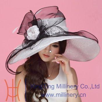 d2602b98 Elegant Women Wide Brim Floral Floppy Net Ribbon Fancy Derby Wedding Dress  Organza Church Hat White Black