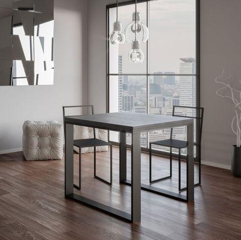 Tavolo Quadrato Allungabile Bianco.Tavolo Allungabile Quadrato 90x90 Cm Cemento Minimal Nel 2020