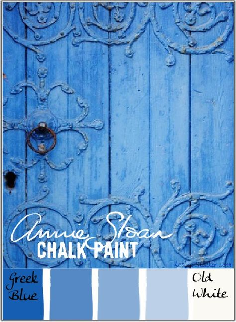 Colorways: Greek Blue - an Annie Sloan Chalk Paint Blue Paint Colors, Chalk Paint Colors, White Chalk Paint, Bedroom Paint Colors, Blue Painted Furniture, Chalk Paint Furniture, Distressed Furniture, Refurbished Furniture, Furniture Design
