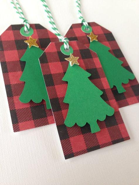 Buffalo Check Christmas tree gift tags
