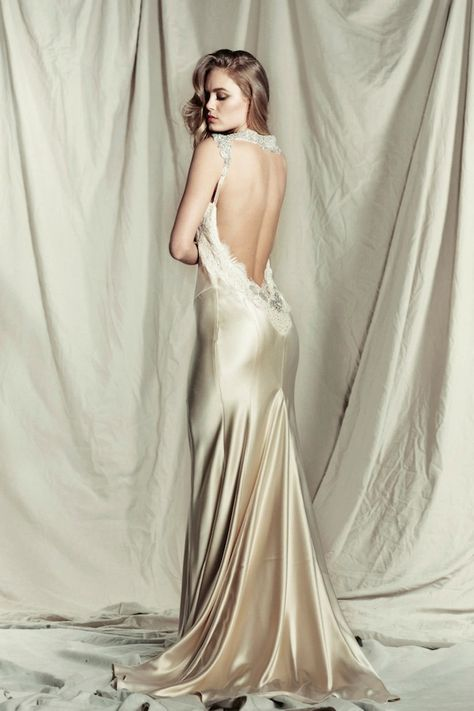 slinky, silk wedding dress with exquisite embellishment | Bridal Musings