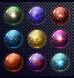 Magical Crystal Orbs Glowing Magic Balls Vector Image Crystal Orb Elemental Magic Orb