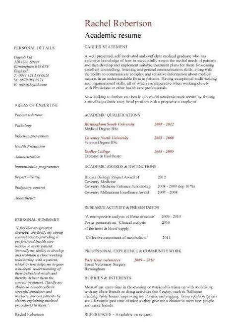 Academic Curriculum Vitae Samples and Writing Tips Curriculum - academic resume template