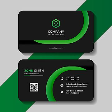 Modern Dark And Green Business Card Template In 2021 Modern Business Cards Business Card Branding Transparent Business Cards