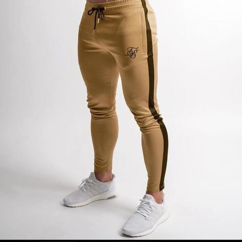 Men's high-quality Sik Silk brand polyester trousers fitness casual trousers daily training fitness casual sports jogging pants - XL / khaki 02