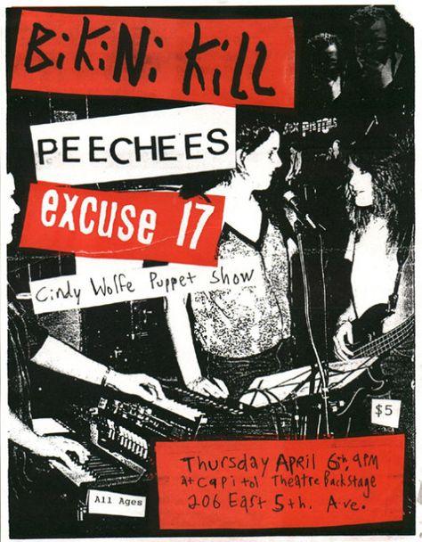 Bikini Kill, Peechees, Excuse 17, Cindy Wolfe Puppet Show gig poster.