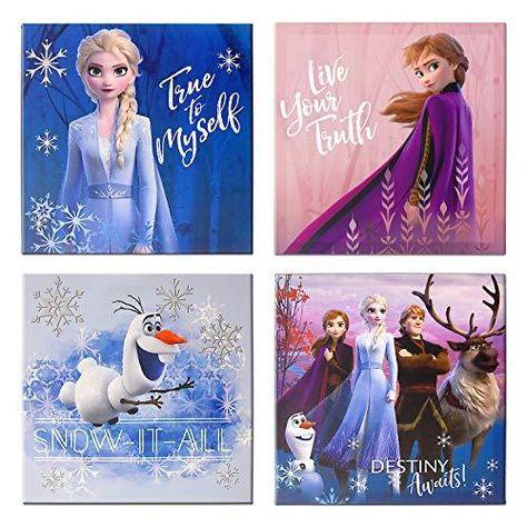 Disney Frozen 2 4 Pack Canvas LED Wall Art, Eachpiece Measures 11.4 X 11.4, Multi - Multi
