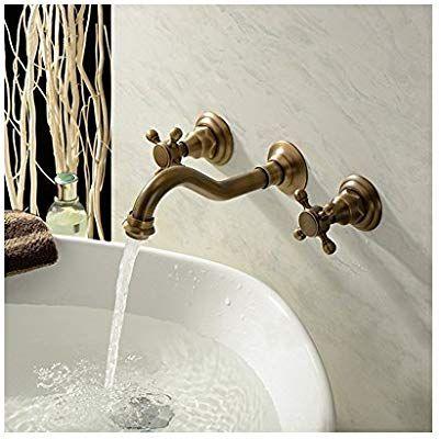 Amazon Tophome 壁付水栓 洗面用蛇口 2ハンドル混合栓 ブロンズ