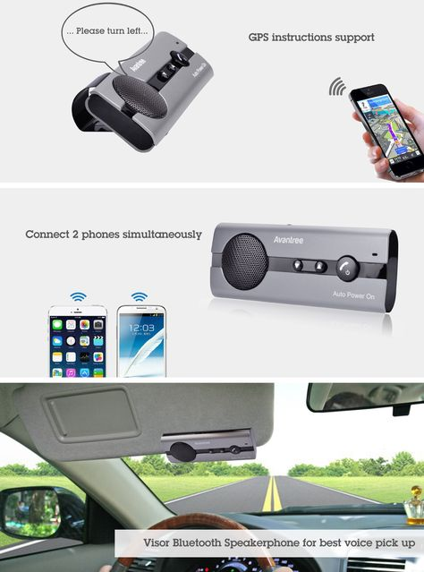 Bluetooth Car Kit Adapter,AMAKE HandsFree Call Wireless Audio Receiver GPS Speaker in-Car Music Player Built-in Mic with Clip and Car Charger for iPhone Samsung LG Android Phones /& Tablet