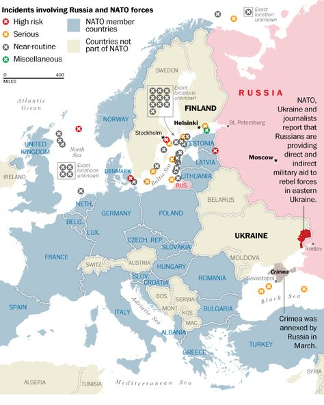 Map of incidents involving Russian and NATO forces