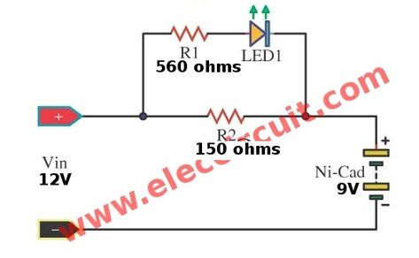 Simple nicad battery charger circuit by little part - ElecCircuit
