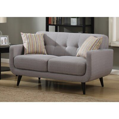 Ivy Bronx Tifton Mid Century Loveseat Upholstery Color Grey Ivy Bronx Express Yourself And Improve Your Decor With T Mid Century Loveseat Love Seat Furniture