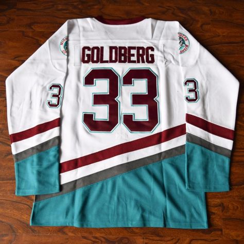 0d480ebe2 MM MASMIG Greg Goldberg #33 Mighty Ducks Ice Hockey Jersey Stitched White