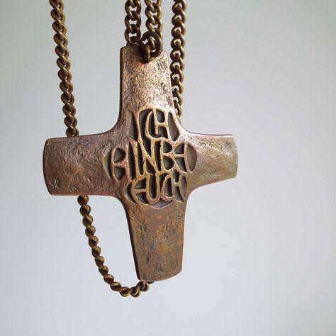 Vintage Mid Century Bronze Crucifix Pendant Necklace Holy | Etsy