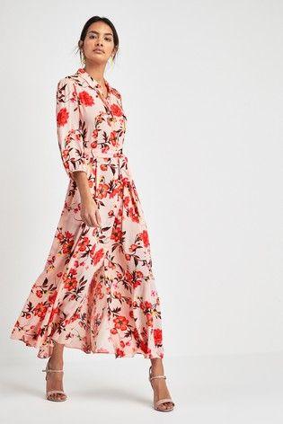 Pink Floral Print Shirt Dress | Dresses, Dusky pink dress