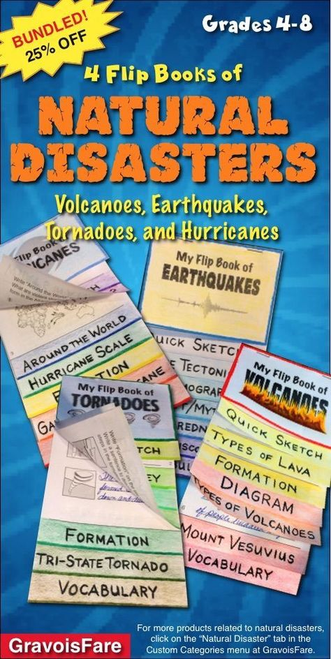 Natural Disasters: Four Flip Books that Focus on Volcanoes, Earthquakes, Tornadoes, and Hurricanes NOTE: This is the BUNDLED package of flip books that focuses on volcanoes, earthquakes, tornadoes, and hurricanes. By buying this you save 25% off the pric